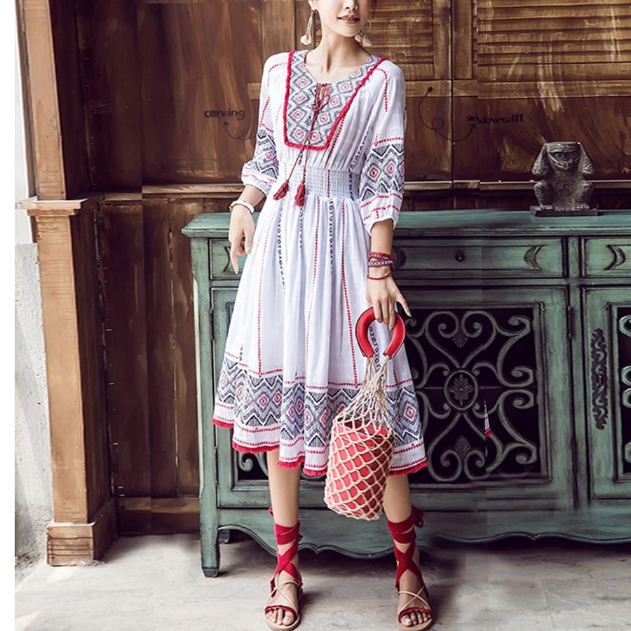 TEELYNN boho dress Cotton and Linen white summer dresses floral Ethnic print o neck tassel dresses