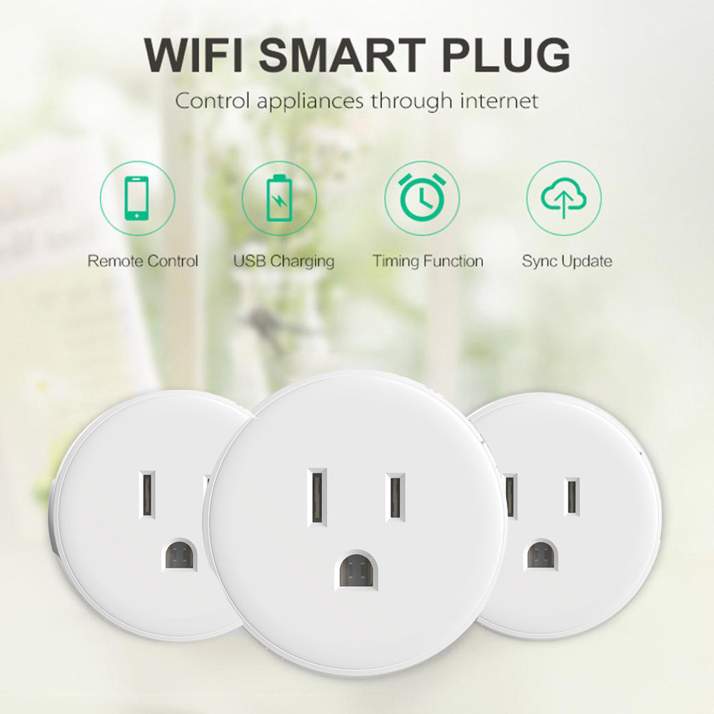 4Pcs Smart Plug Wi-Fi Enabled Mini Outlets Smart Socket Control Your Electric De WiFi Smart Wireless socket M.16 wi fi enabled mini outlets smart socket control your electric devicsmart us plug wifi smart wireless socket m 16