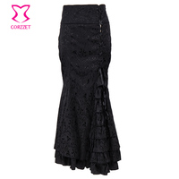 6XL Plus Size Black Brocade Lace Up Slim Long Mermaid Ruffle Gothic Victorian Skirt Steampunk Skirts For Women Matching Corset