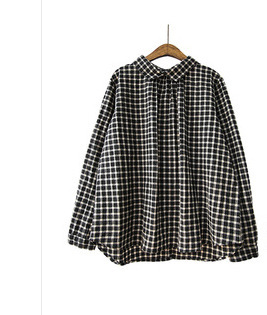 a36070d430c Sweet Mori Girl Vintage Long Sleeve Loose Cotton Linen Plaid Shirt Hippie  Boho Women Turn-down Collar Autumn Blouse Shirt Coats