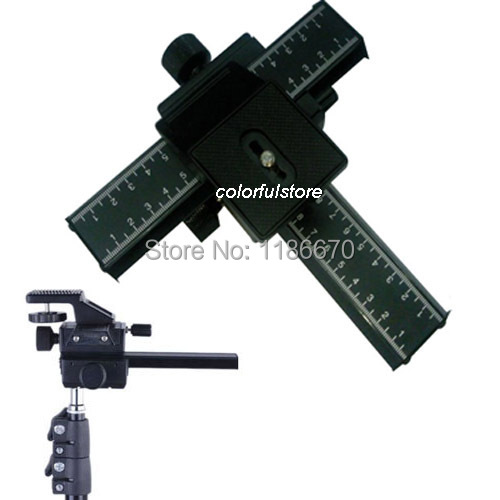 MeterMall Hot for W-160 Tripod Head Aluminum Alloy 2-Way Macro Focusing Rail Slider Plate Close-up Photography Tripod Head with 1//4 Screw