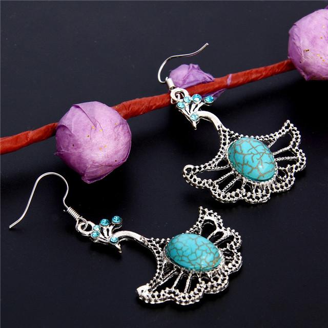 Vintage Silver Flying Peacock Womens Dangle Earrings