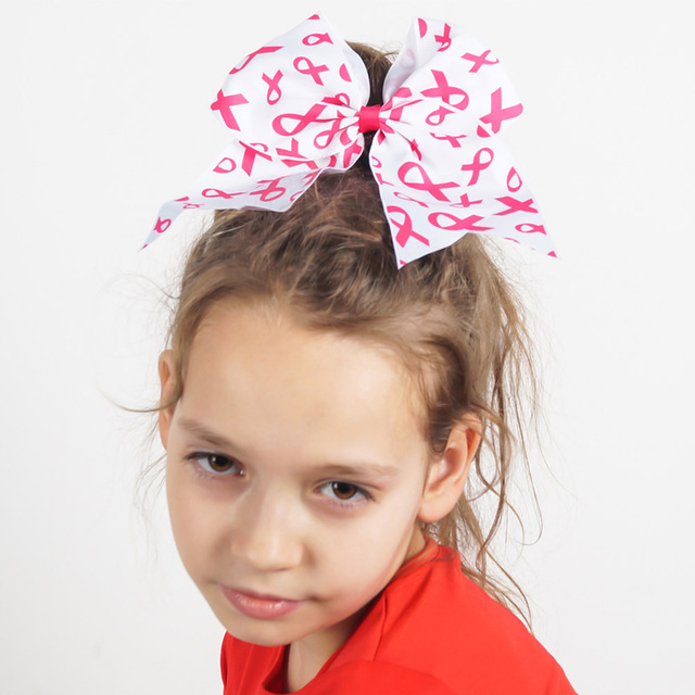Hot Design Fashion Girls Breast Cancer Cheerleading Hair Bows For Ribbon Large Cheer Bow 2Pcs