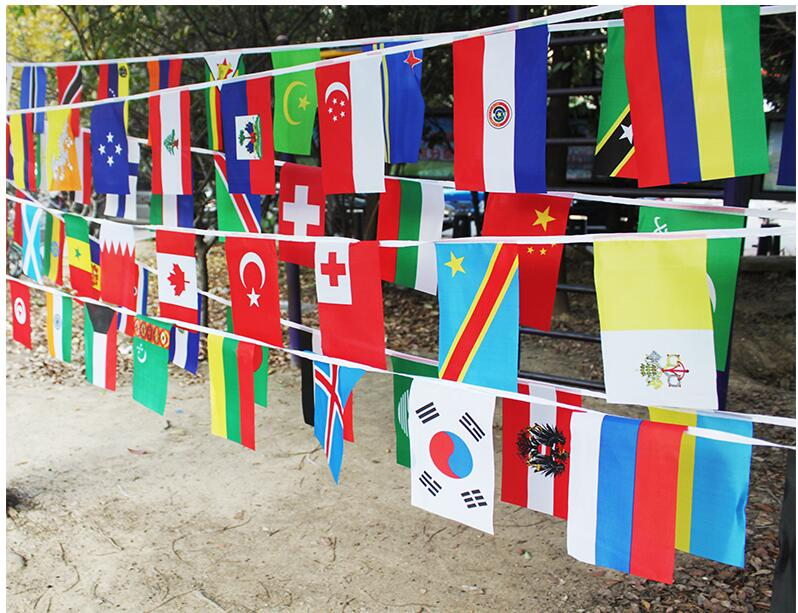 9c7468a5d1f3 20 30cm String flag 100 countries around the world nations flag small flag