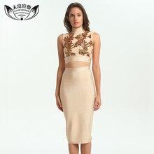 TFBD 2017 New Women Winter Bandage Dress Sleeveless High turtleneck Vestidos Embroidery Sequin Chinese Split Dresses set