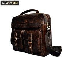 Le'aokuu Men Real Leather Antique Style Coffee Briefcase Business 13″ Laptop Cases Attache Messenger Bags Portfolio B207