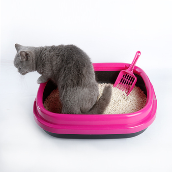 1PCS Kitten Basin Semi Enclosed Cat Toilet Size Litter Pot Feces Cat Basin Excrement Pot Kitty Cleaning Supplies