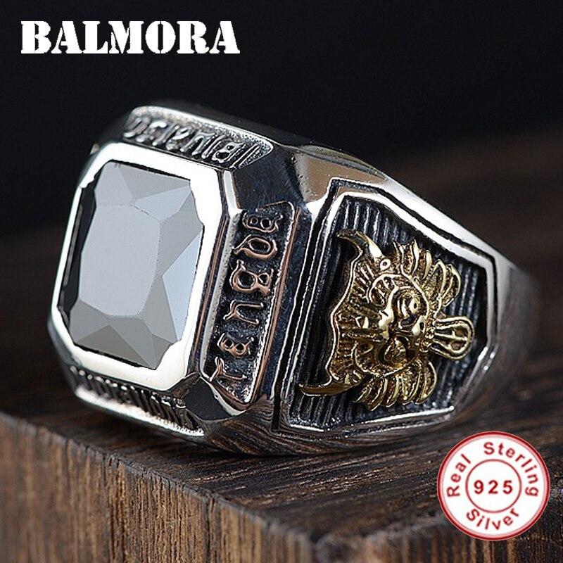 BALMORA 100 Real 925 Sterling Silver Inlaid Zircon Resizable Rings For Men Fashion Retro Thai Silver