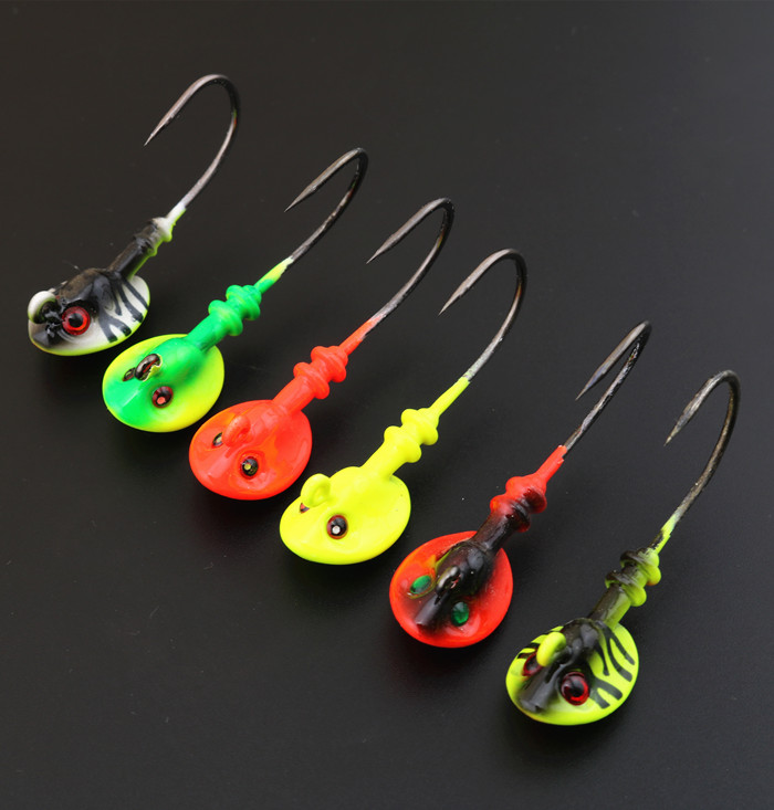 High quality lead jig head fishing hook soft lure worm hook ,weight:7g 10g 14g 18g 21g mixed colors 10pcs/lot