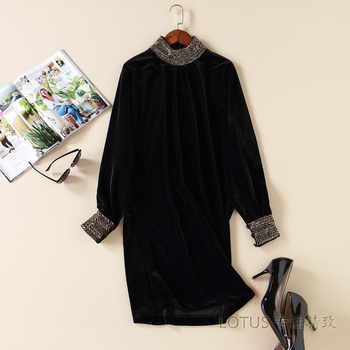 Luxury Manual beaded Velvet Dress 2018 New Runway Autumn Women Long sleeve Turtleneck Black Vintage Ladies Dresses Hot sale