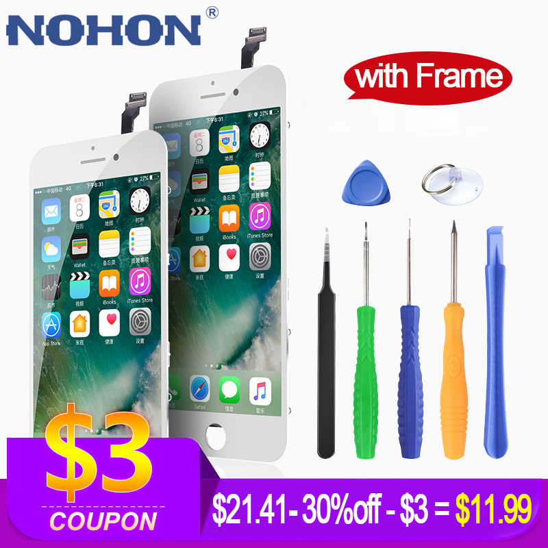 Nohon display para iphone 6 lcd para iphone 6 s substituição da tela para iphone 7/8 assembléia display digitador 3d toque aaaa + quadro