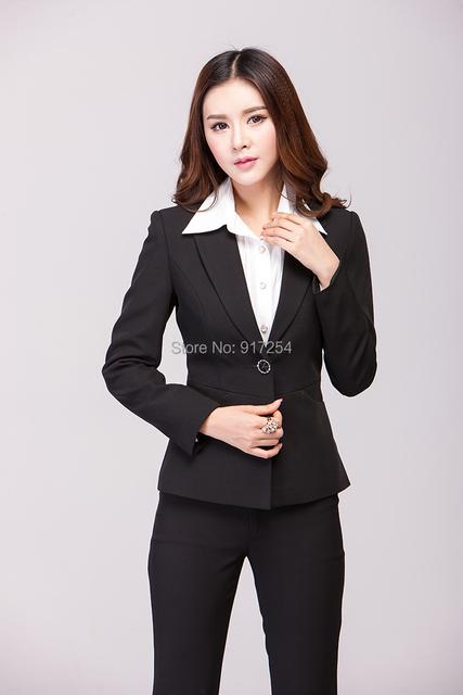 Novo 2015 outono inverno trabalho negócios profissional usar ternos calças e Tops escritório Femininos Pant ternos uniformes de estética