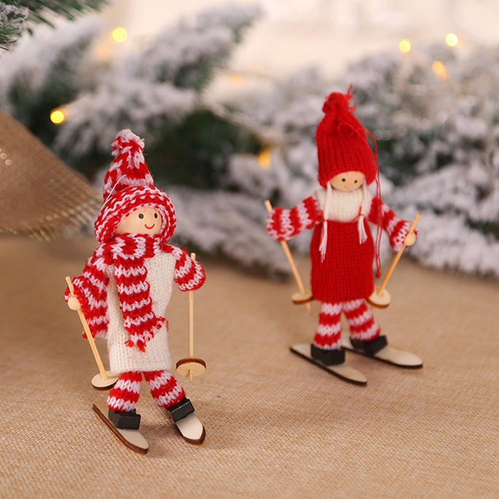 FengRise Cute Angel Doll Girl Ski Pendant Christmas Tree Decorations for Home Wooden Christmas Tree Ornaments Xmas Gift for Kids in Pendant Drop Ornaments from Home Garden