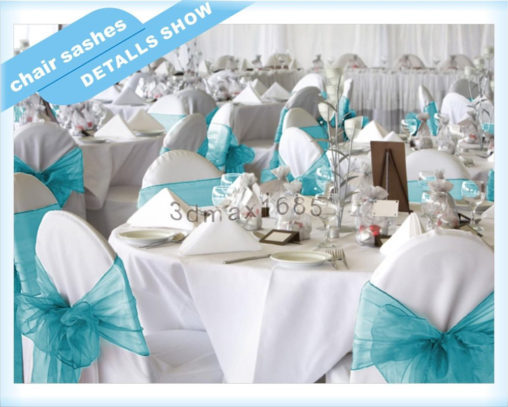 Turquoise And White Wedding Decorations Aliexpresscom Buy New Organza Chair Sashes Bow Wedding Cover
