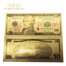 10pcs/lot Hot Sale USA Gold Banknote Paper Money USD 10 Dollars in 24k Plated With Colored Printing For Gift