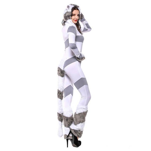 05688d8a22cb LMFC Halloween Costumes For Women Stripe Velvet Jumpsuit Adult Cosplay  White Polar bear Sexy Animal Fancy