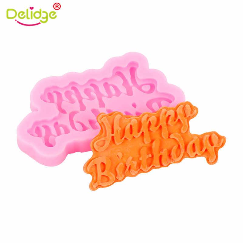 3D DIY اليدوية الشوكولاته الجليد هلام العفن عيد ميلاد سعيد رسائل قالب من السيليكون الطفل عيد ميلاد حزب تزيين الخبز التبعي