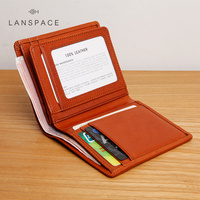 LAN men's genuine leather short wallet quality cow leather suitable for gift