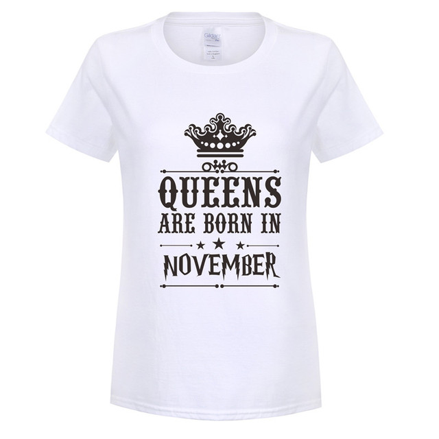 Omnitee Summer Fashion Birthday Gift Women T Shirts Cotton Short Sleeve  Girl Woman Queens Are Born b2badbf72