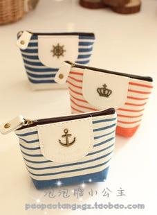 Girls small fresh storage bag coin purse navy style stripe canvas