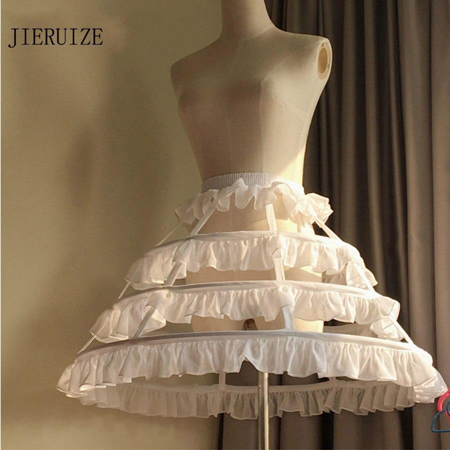 JIERUIZE Lolita Short Unique Petticoat Ball Gown Cosplay Underskirt 3 Hoops Ruffle Rockabilly Crinoline Wedding Accessories