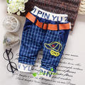 2017 Spring and autumn 0-2 old ,infant fashion Belt handsome plaid pants, baby boys cool trousers ,V1742