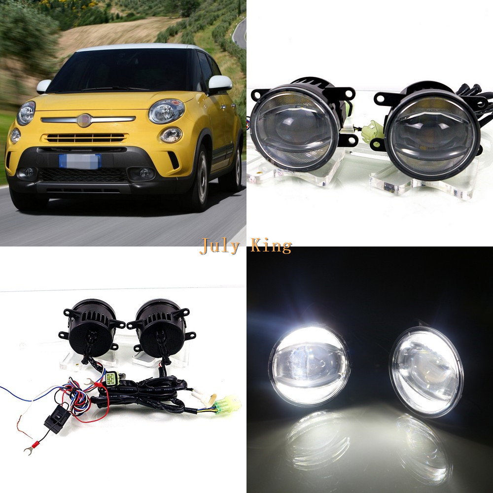 July King 1600LM 24W 6000K LED Light Guide Q5 Lens Fog Lamp +1000LM 14W Day Running Lights DRL Case for Fiat 500L 2013+ july king bifocal lens fog lamp cob angel eye rings drl case for suzuki alto sx4 swift splash daci a mazda bt 50 fiat dfmc etc