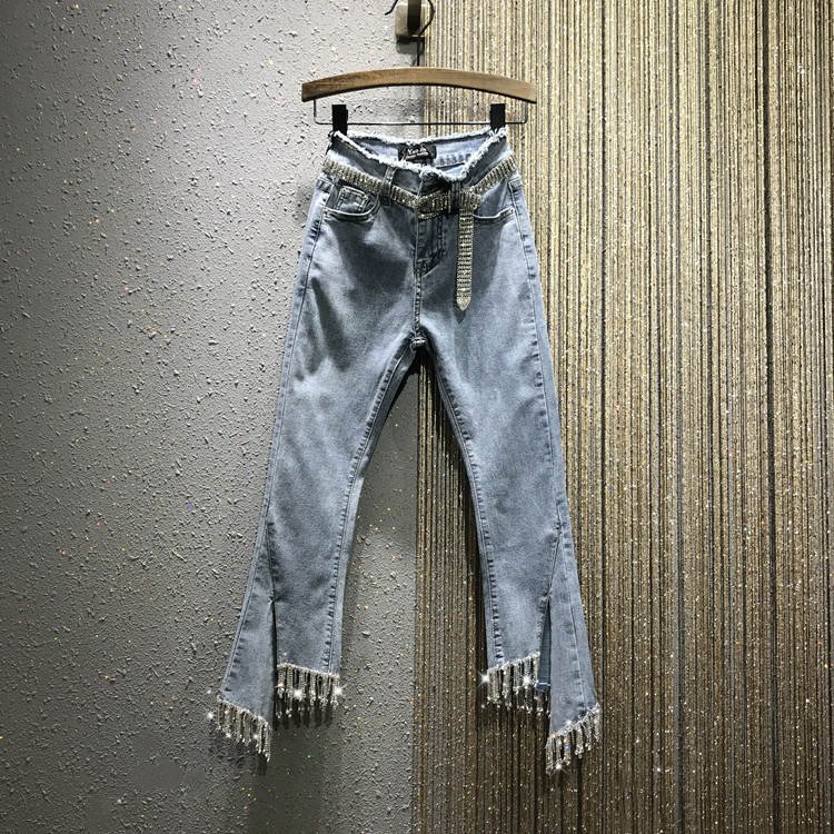 Women Summer Autumn Water Drill Tassel Jeans New High-waist Open-forked Micro-Rack Body-building Jeans Nine-minute Denim Pants