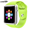 Smart watch a1 pasómetro gimnasio música manos libres cámara para iphone android teléfono smartwatch con sim pk gt08 dz09 reloj