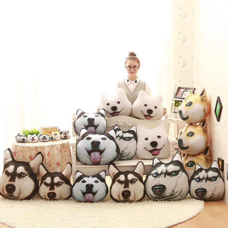 3D 38cm*35cm Samo Husky Alaska Akita Dog Plush Toys Soft Stuffed Animal Pillow Dolls Sofa Car Pillow Toys Chidren&Friends Gift