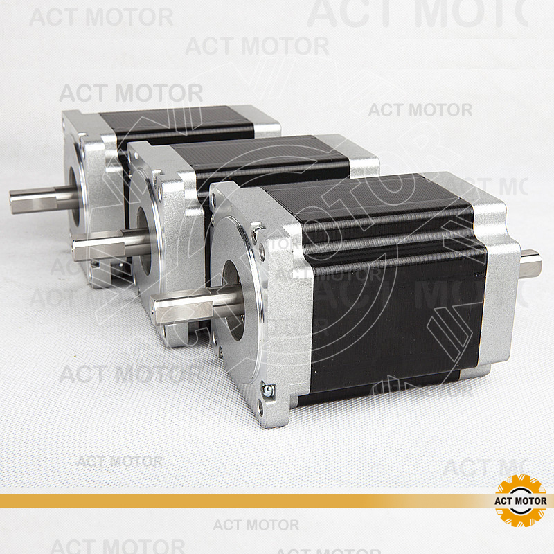 ACT Motor 3PCS Nema34 Stepper Motor 34HS1456B Dual Shaft 4-Lead 1232oz-in 118mm 5.6A Bipolar CE ISO ROHS US DE UK IT JP Free high quality 4pcs wantmotor nema34 stepper motor 85bygh450c 012 single shaft 1600oz 3 5a ce rohs iso us uk ca jp de fr it free