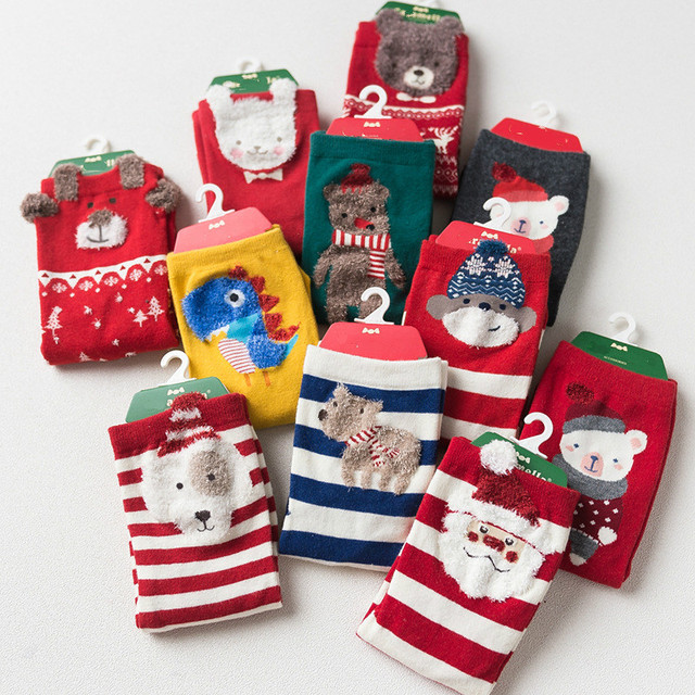 6442fcfe2cb 1Lot 4Pairs Christmas Socks Kids Red Kids Socks Lot Boys Girls Cute Baby  Cartoon Socks Funny Creative Short Socks Fox Dinosaur