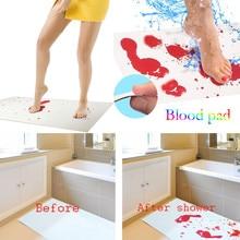 8. Хэллоуин кровавый коврик для ванной цвета меняющий лист превращается в красный влажный сделать вас кровотечение следы ванной ковер украшение дома.