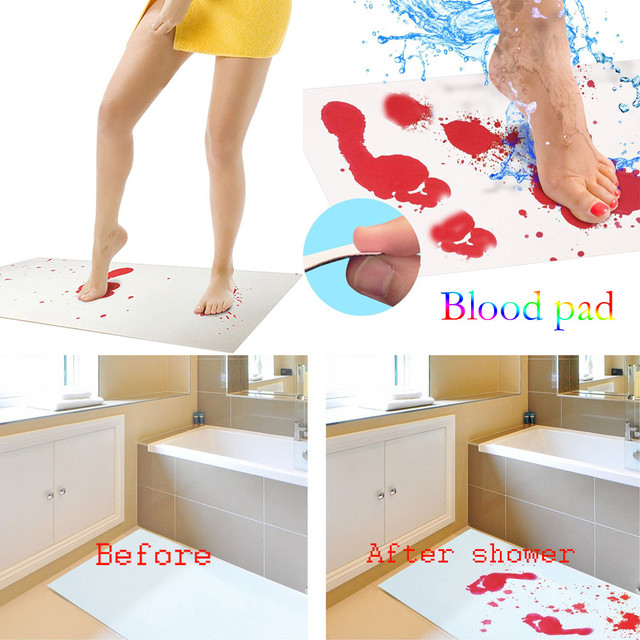 Halloween Bloody Bath Mat Color Changing Sheet Turns Red Wet Make