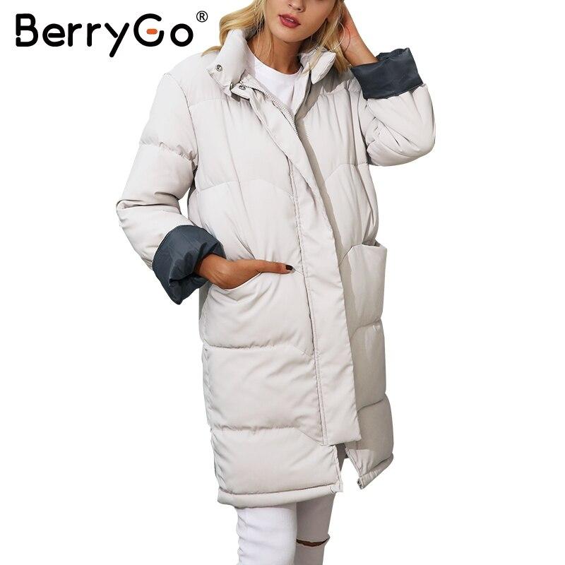 Berrygo хлопковая стеганая черная парка Для женщин теплая куртка на молнии Верхняя одежда с карманами парки осень 2017 г. повседневные зимние пал...