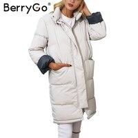BerryGo Cotton Padded Black Parka Women Jacket Warm Zipper Pocket Outerwear Parkas 2017 Autumn Winter Casual