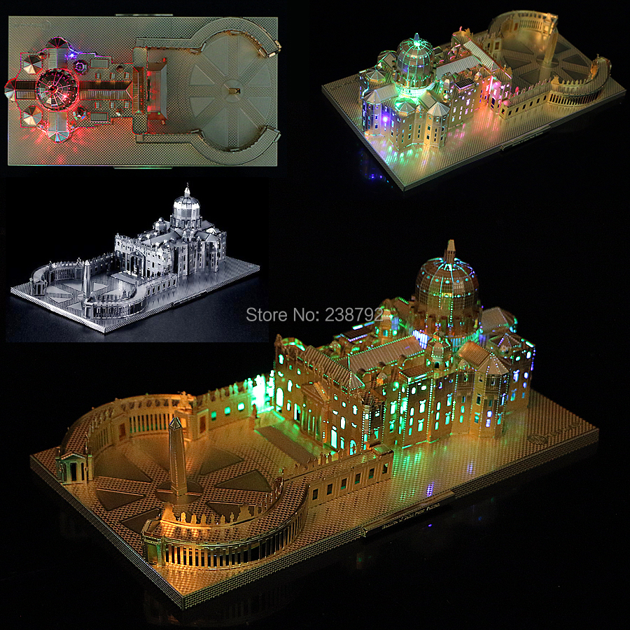 3D Metal Puzzle Italy St. Peter's Basilica Church Architectural Miniature Building Model DIY  Laser Cut Assemble Jigsaw Toys
