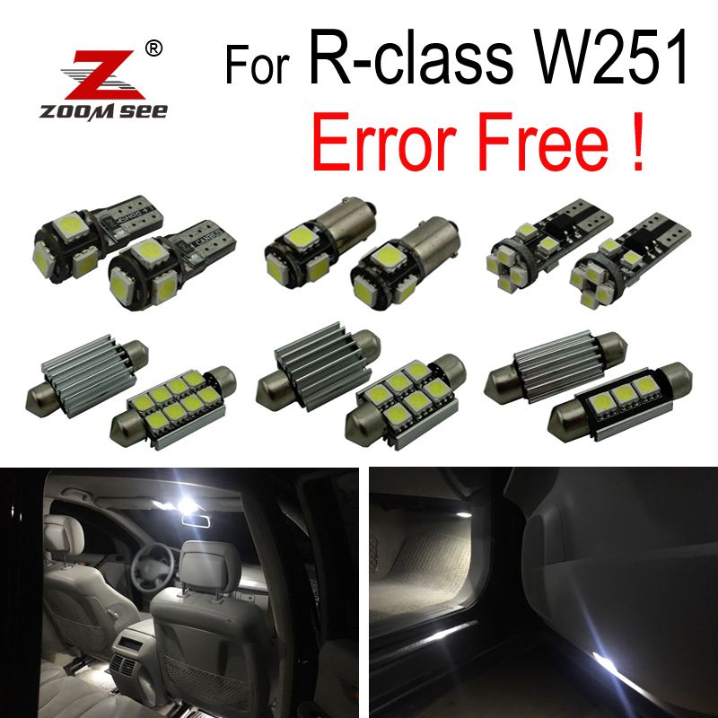 24pcs LED License plate lamp + LED interior dome lights bulb Kit For Mercedes Benz R class W251 R320 R350 R500 (2006-2014) цена