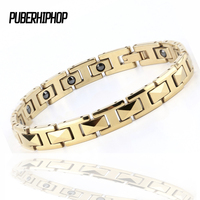2017 New Golden Healing Magnetic Bracelet 316 Stainless Steel Bio FIR Germanium Health Bracelets Jewelry For