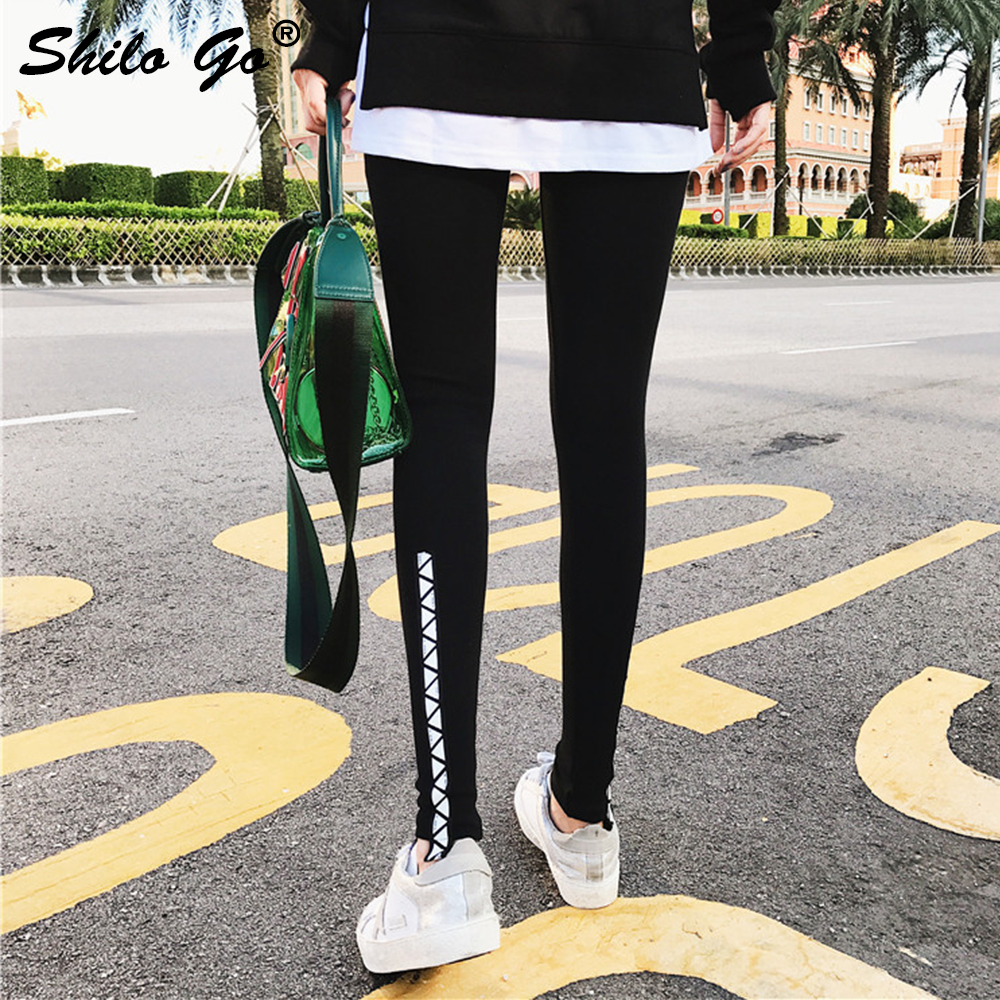 Sexy back lace up   pants     capris   leggings high waist black trousers women skinny pencil   pants   female