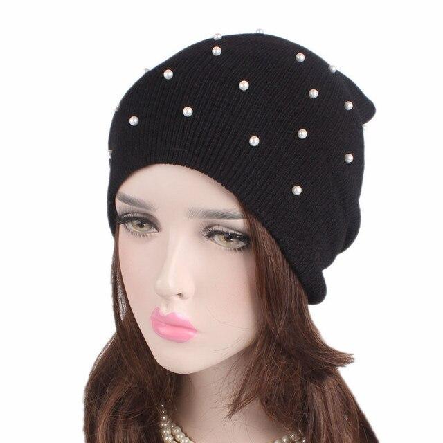 Sombreros orejeras tapas de perlas lana perlados cuentas sombrero ...