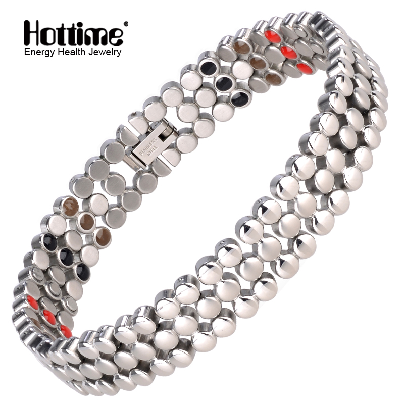 Hottime 66 PCS Energy Stone 316L Stainless Steel Magnetic Bracelet & Bangle Silver Germanium Bracelets Fashion Men Women Jewelry
