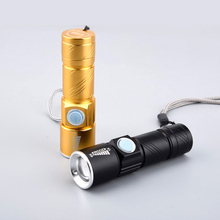 USB Handy Powerful LED Flashlight Black Gold Rechargeable Torch usb Flash Light Bike Pocket LED Zoomable Lamp For Hunting Black