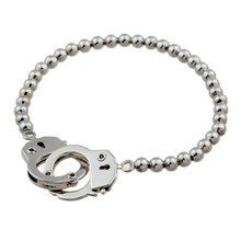 Trendy Charm Handcuffs Plated Elastic Silver Beads Bracelet Bangles Jewelry For Women men