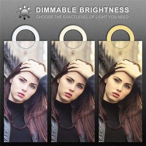 Image 4 - 5 אינץ LED Selfie טבעת אור חצובה Stand מחזיק טלפון YouTube וידאו איפור צילום פלאש מיני מצלמה בהיר מנורה 3 מצב