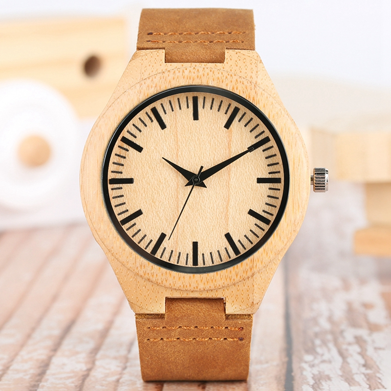 Men's Wood Watch Simple Pure Analog Bamboo Wooden Clock Man Genuine Leather Watch Men Watches Top Luxury Brand reloj para hombre black face dial wooden watch men quartz analog clock fashion genuine leather band christmas gift for men women reloj para hombre