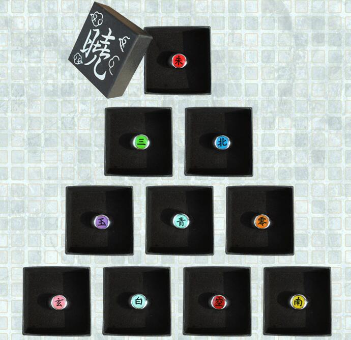 10pcs/lot 10Styles Anime Cartoon Naruto AkatsukI Memeber's Badge Cosplay Rings Uchiha Itachi Ring