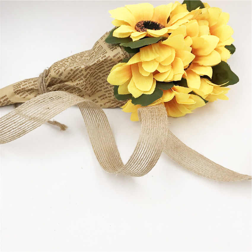 5 M/10 M Natural yute arpillera cinta de arpillera rollo Vintage fiesta rústica de boda DIY artesanías decorativas Navidad hogar Decoración