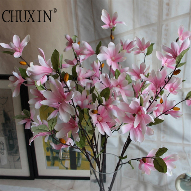 Hot 8 colors high quality silk magnolia flower artificial hot 8 colors high quality silk magnolia flower artificial decorative wedding flower bouquet simple style mightylinksfo