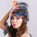 Sale 2016 winter beanies fur hat for women knitted rex Raccoon fur hat with raccoon fur flower top free size casual women's hat